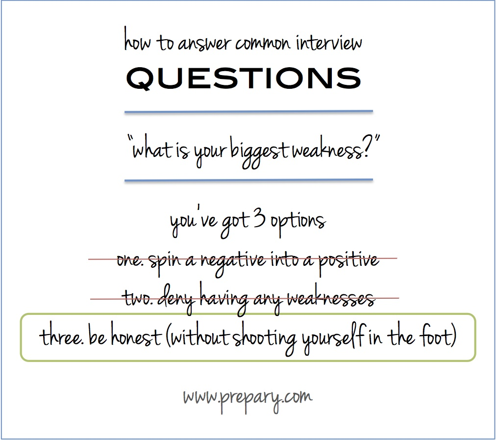 Answer the common interview question what is your biggest weakness