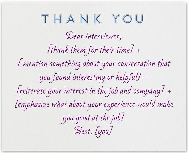 Thank You Note After Interview Handwritten