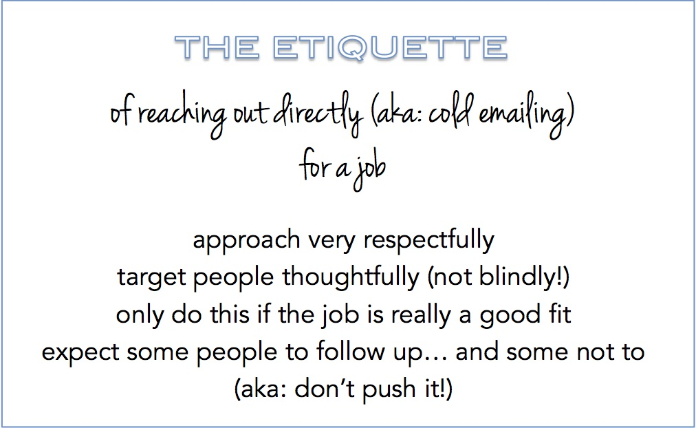 the rules of reaching out directly for a job
