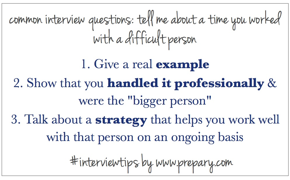 Common Interview Questions: Time when you've worked with a difficult ...