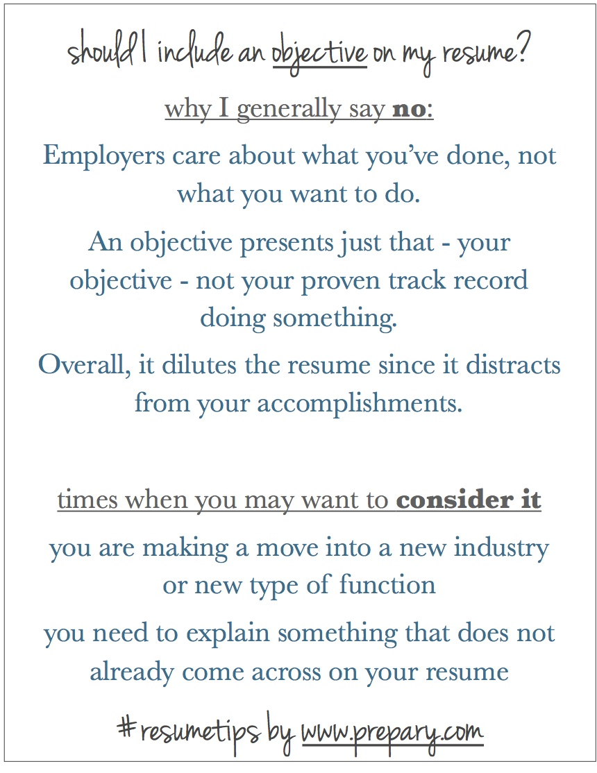 The Prepary  Objective On Resume