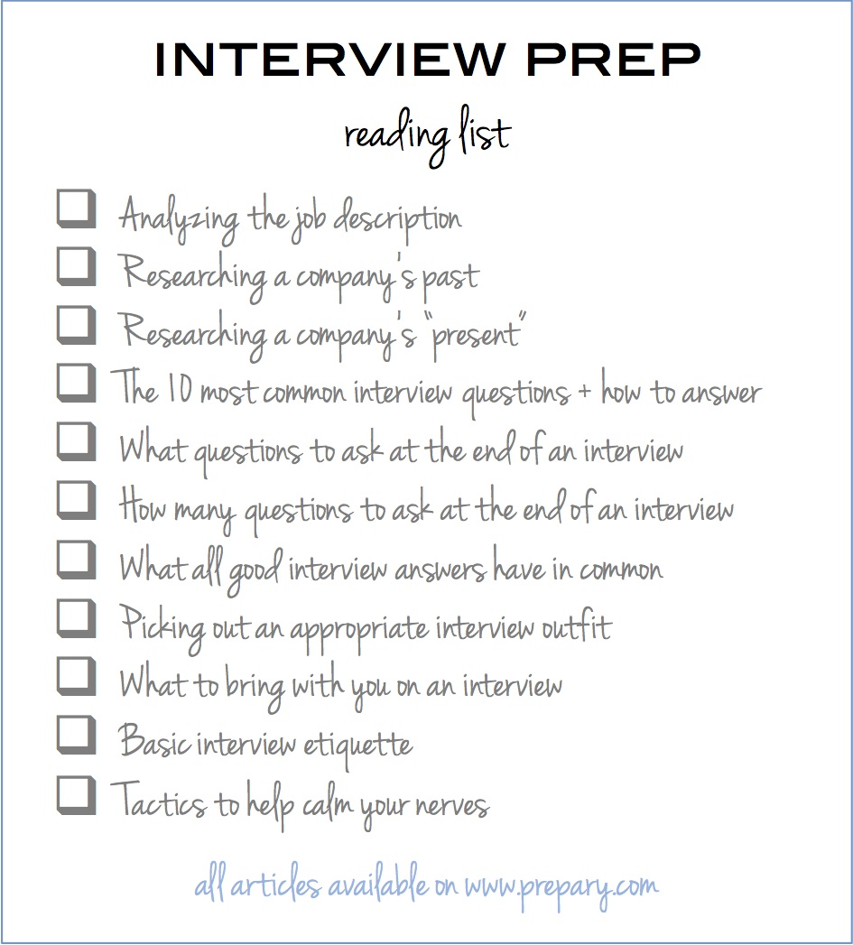how to prepare for an interview use this easy checklist the interview prep reading checklist