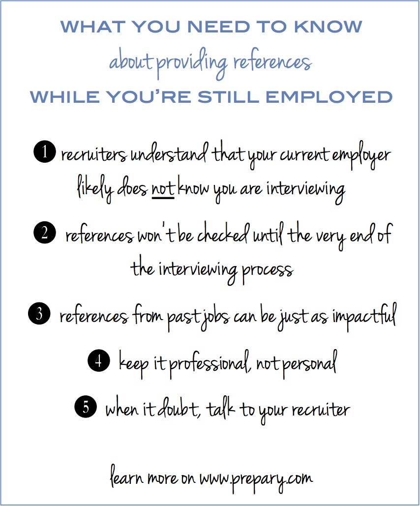 providing references while still employed the the prepary based on my time as a recruiter here are my thoughts about providing references while still employed
