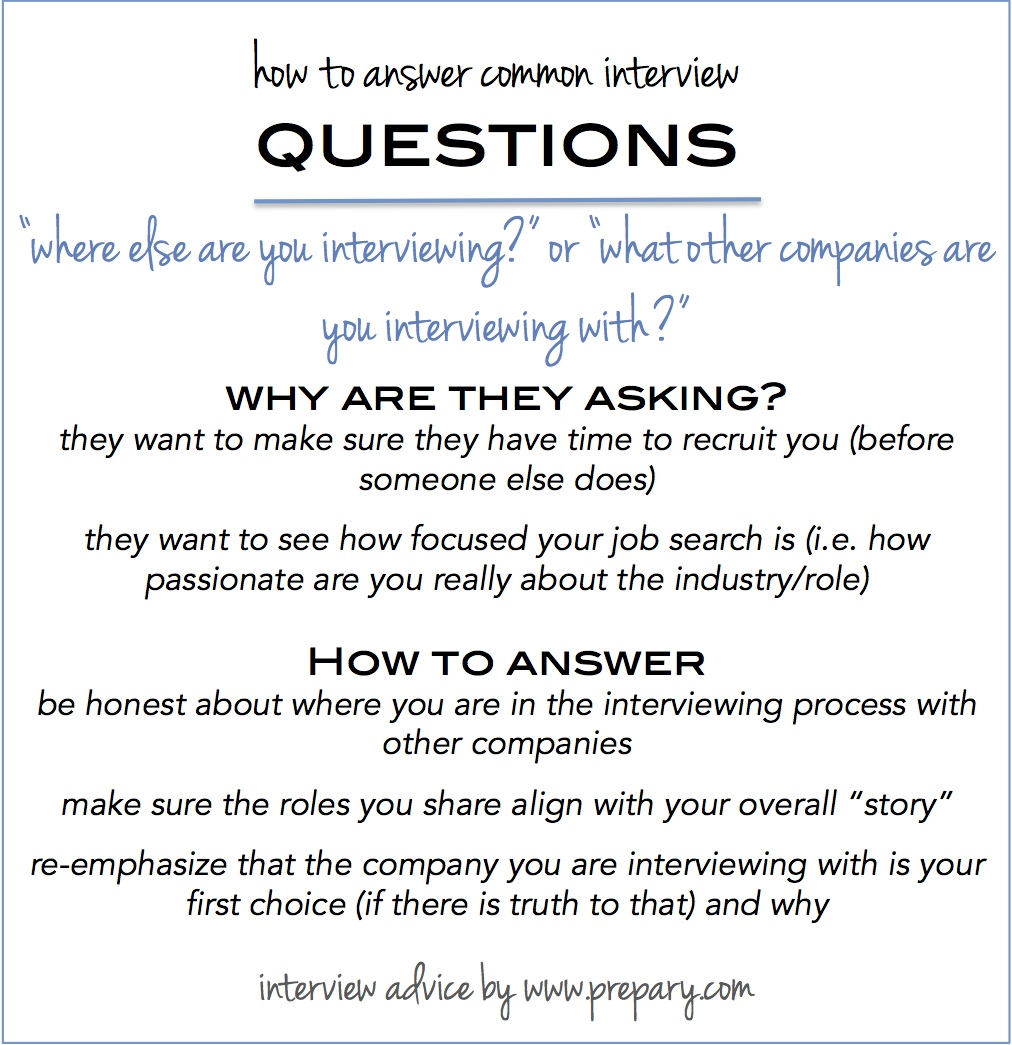 Attractive Where Else Are You Interviewing Within Common Interview Questions