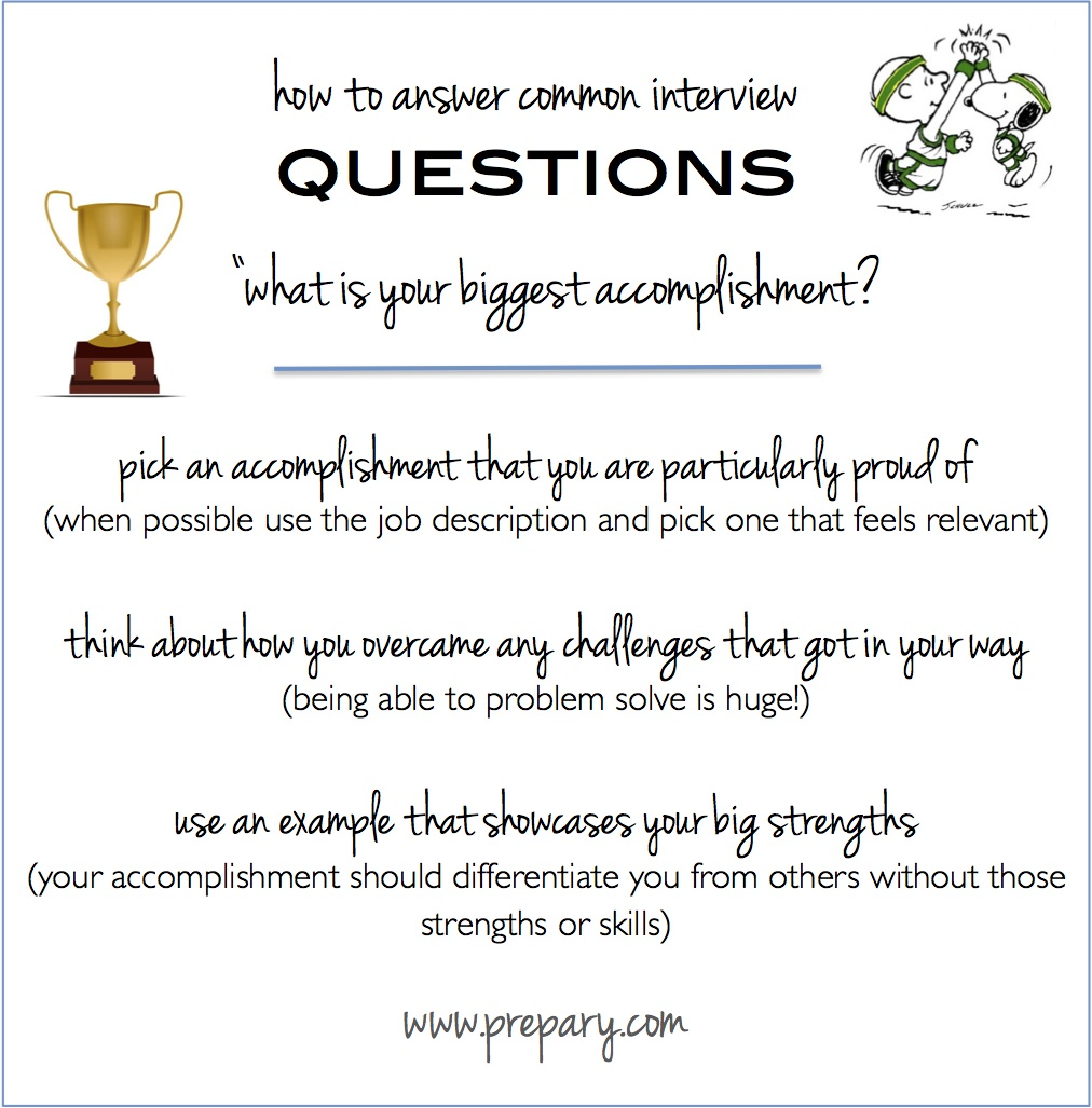 common interview questions what is your biggest accomplishment how to answer biggest accomplishment interview question