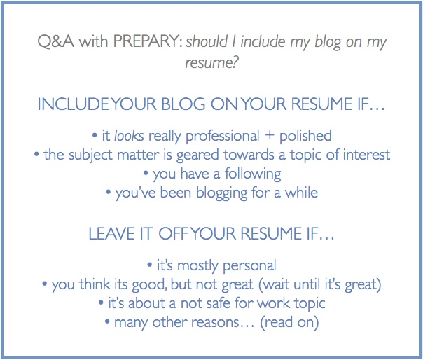should i include my blog on my resume