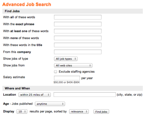 indeed job alert advanced search