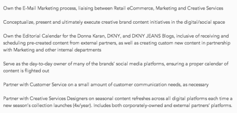 from a Donna Karan job posting