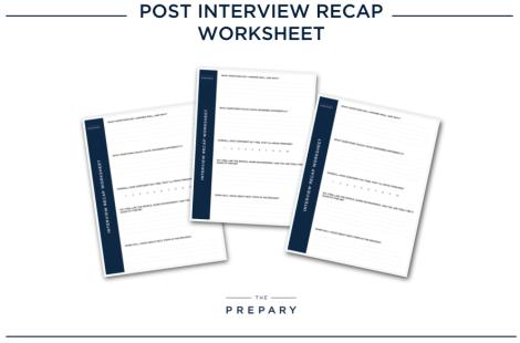 job interview recap workshheet