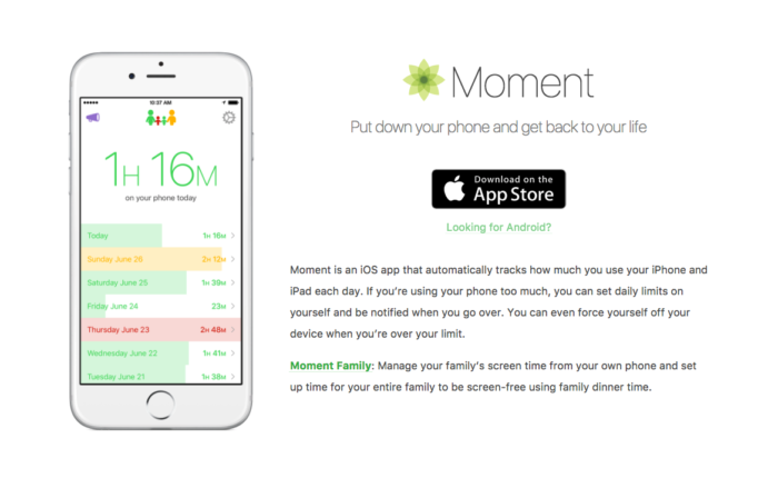 Moment App - Less time on your phone