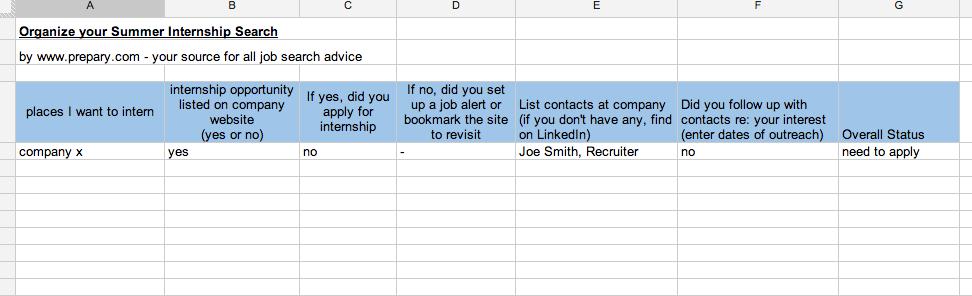 google doc organize internship search