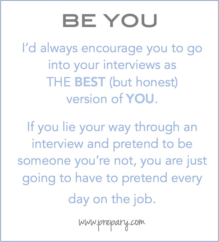 why you should be yourself in an interview