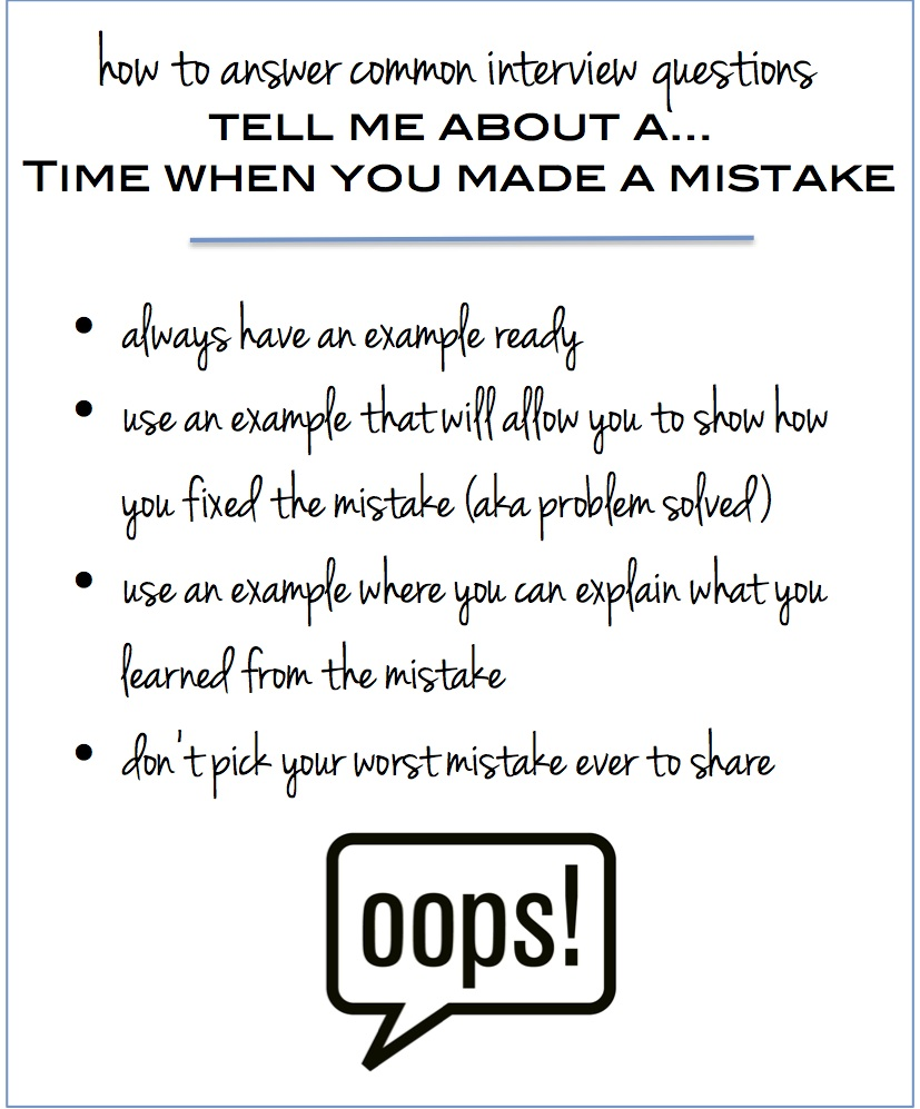 interview questions - time when you made a mistake
