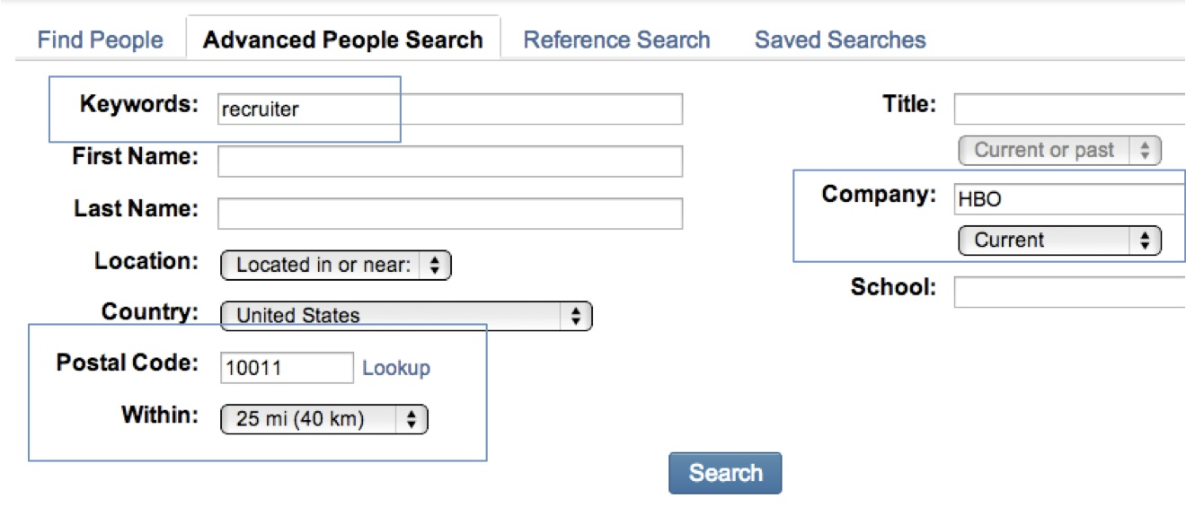 using linkedin advanced search
