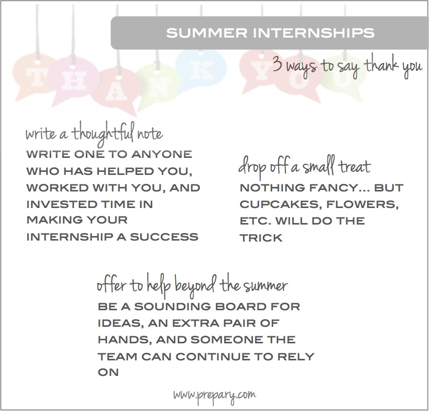 Ways to say thank you at the end of your summer internship The