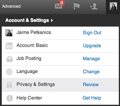 privacy settings - linkedin