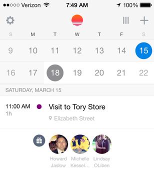 sunrise calendar app - birthdays