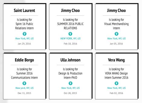 Fashion Job Search - Internships