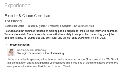 an example of a LinkedIn recommendation from my profile - thanks Annie!